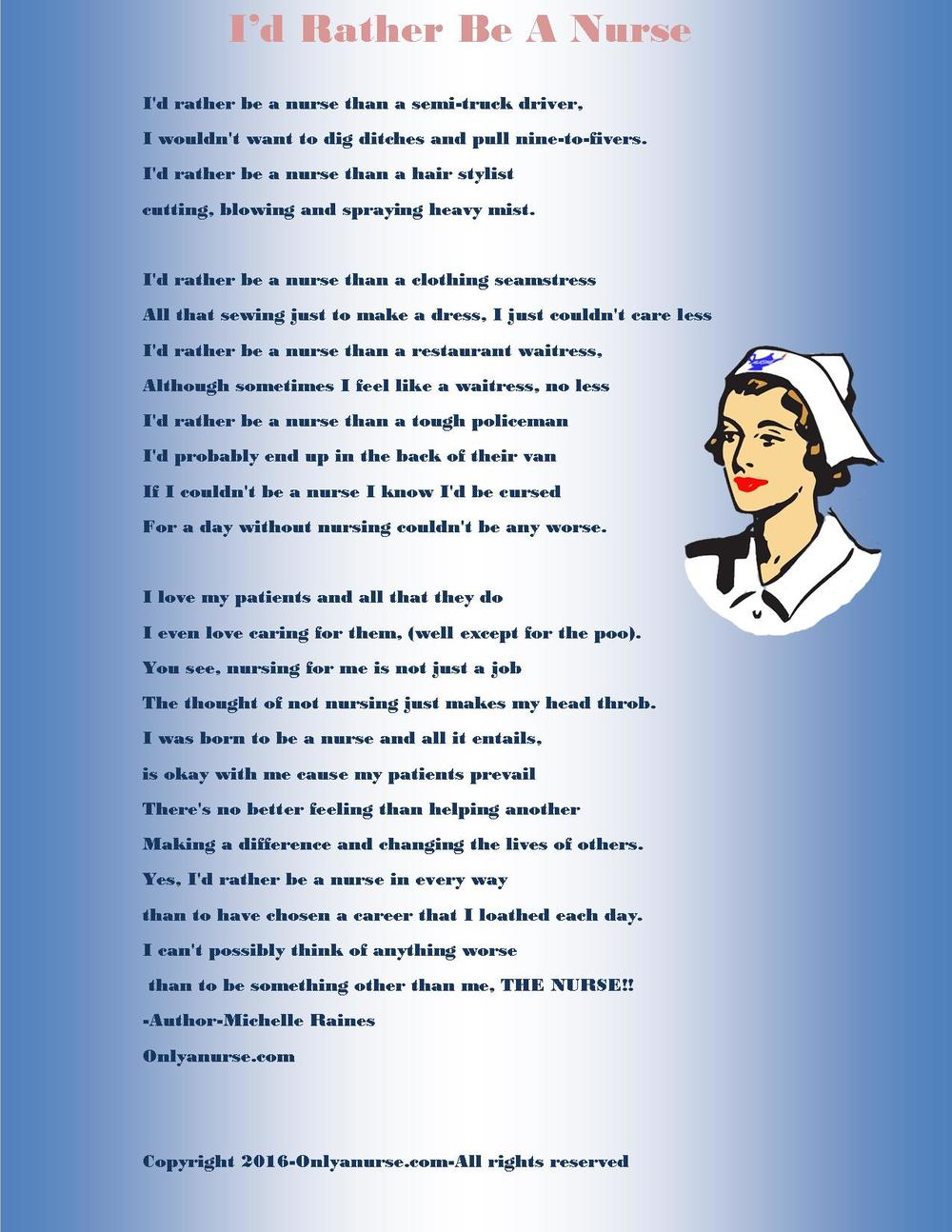 I'd rather be a nurse poem