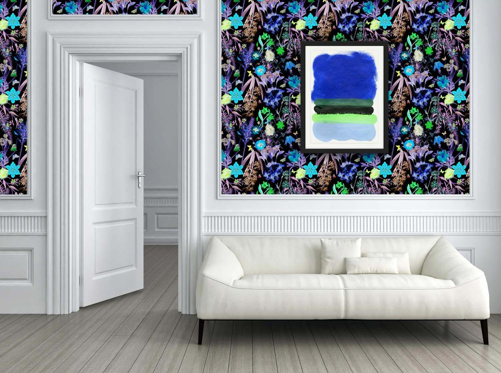 DETAILED PATTERN + LARGE BLOCKS OF COORDINATING COLOR - FANTASY FLORAL WALLPAPER IN BOLD DARKCOBALT FIELD PRINT