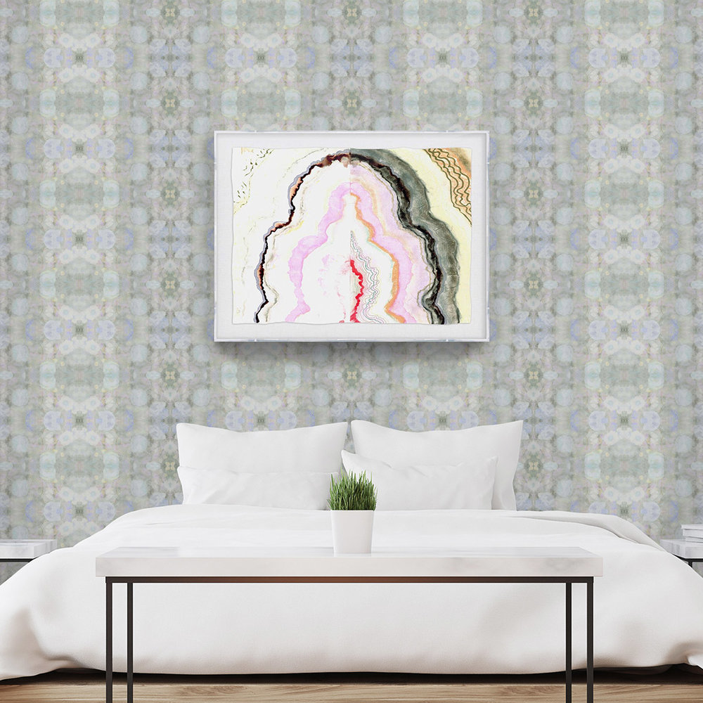 SOFT GREEN + SERENE - WALLPAPER: FLORAL SYMPHONY IN SKYPRINT: COTTON CANDY AGATE