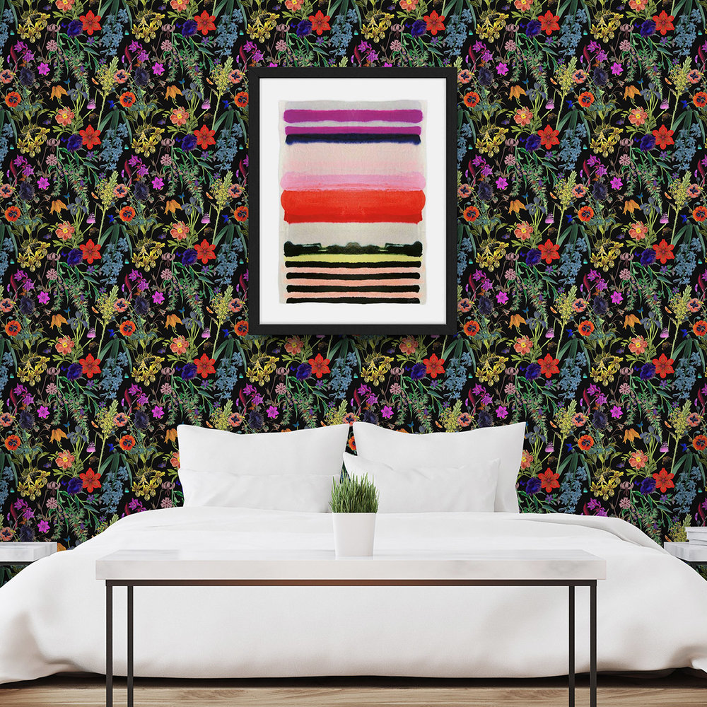 DARK + DRAMATIC - WALLPAPER: FLORAL FANTASY BOLD LIGHTPRINT: VIBRANT STRIPE