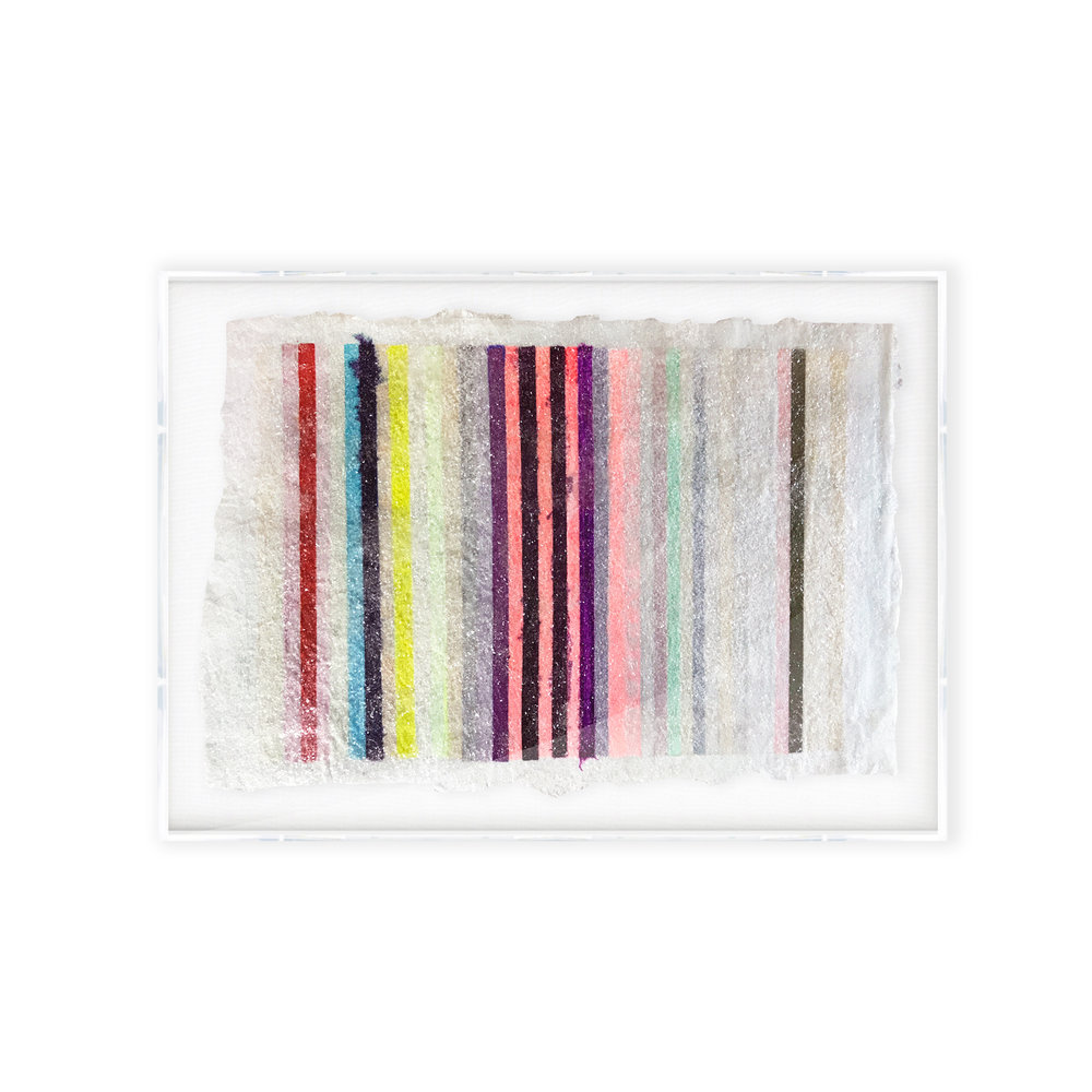 """CHROMATIC HARMONY #29,"" 37X57, MIXED MEDIA AND GLASS CRYSTALS ON ACRYLIC"