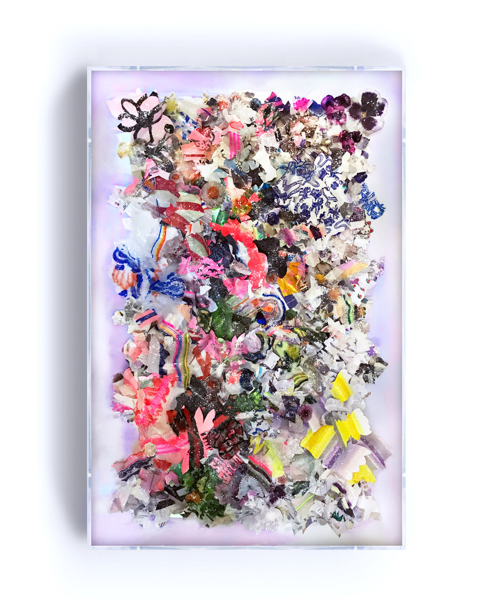 """IMAGINE,"" 48X72, HAND-CUT, MIXED-MEDIA COLLAGE WITH BUTTERFLIES AND GLASS CRYSTALS ON IRIDESCENT ACRYLIC."