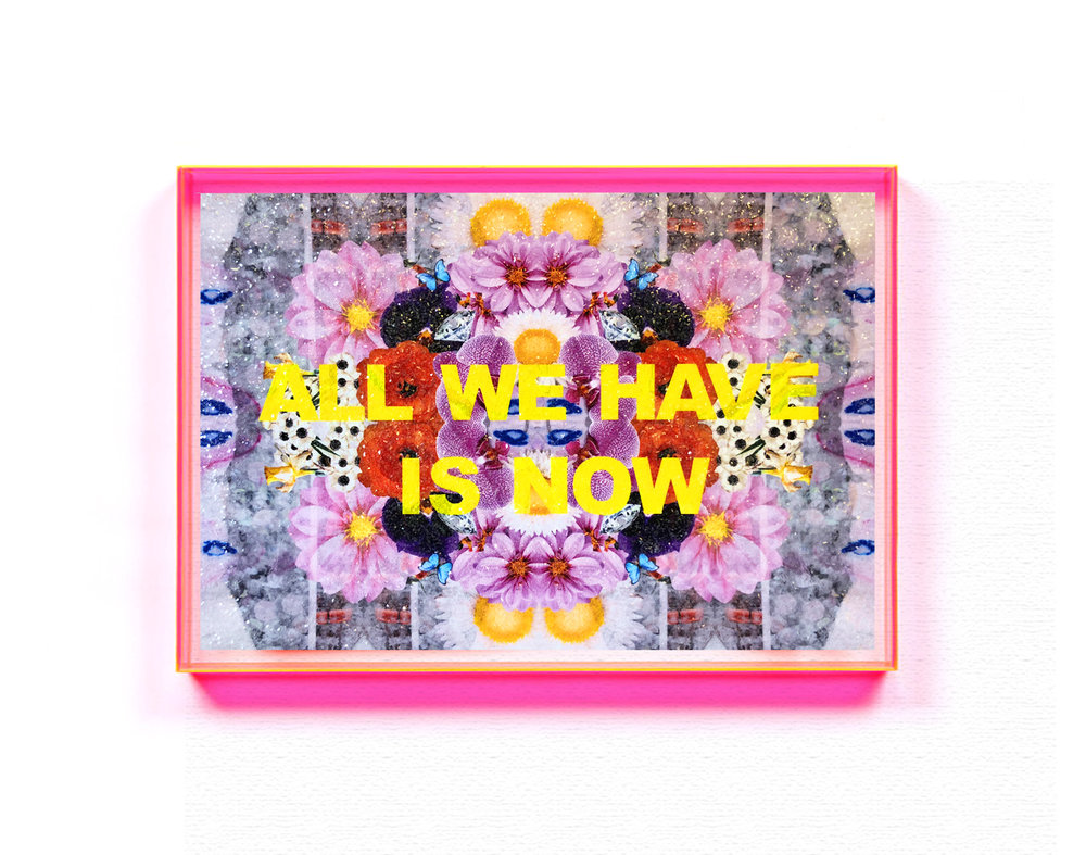 """ALL WE HAVE IS NOW,"" 24X36, LIMITED EDITION EMBELLISHED DIGITAL METAL PRINT WITH GLASS CRYSTALS."