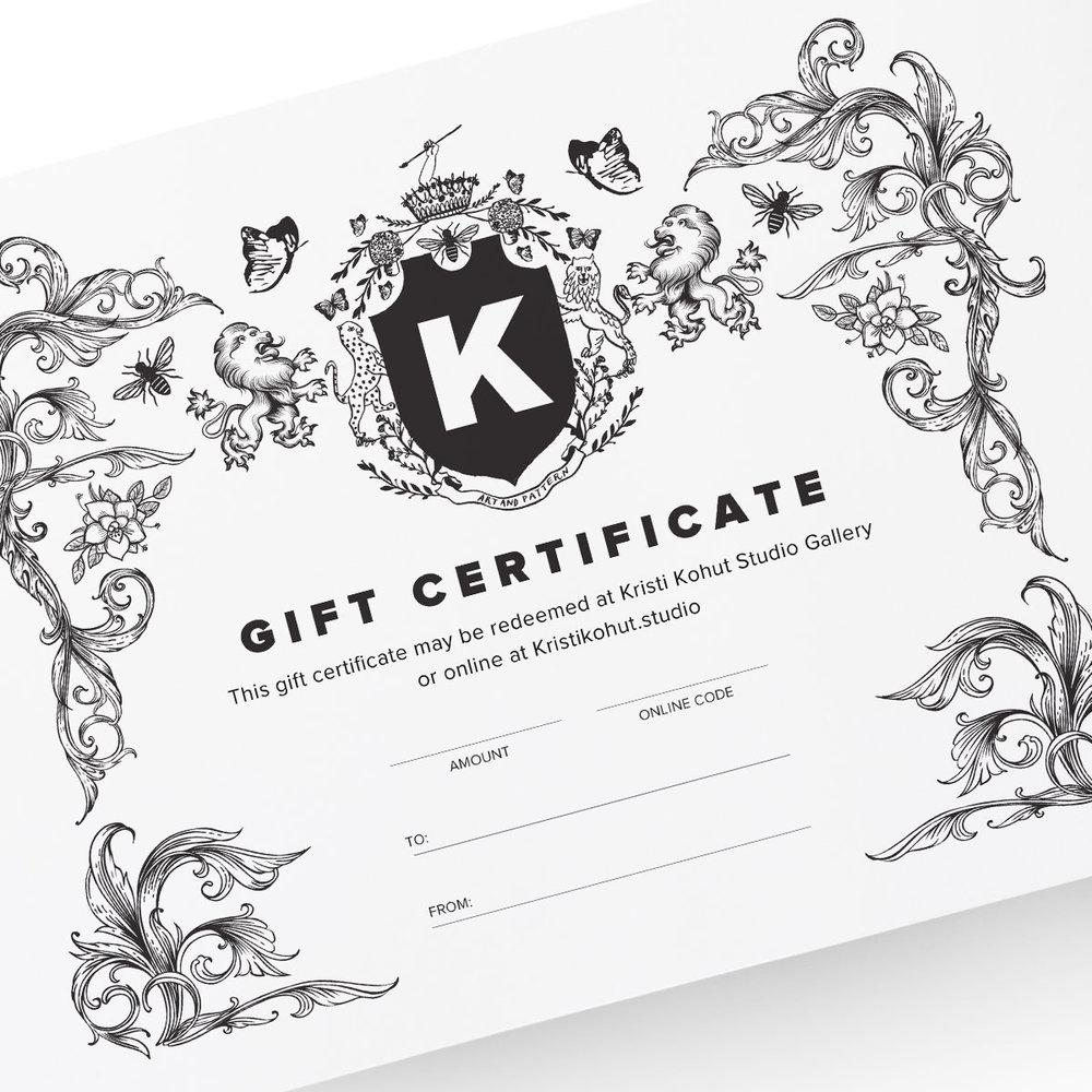 E Gift Certificate Kristi Kohut Studio