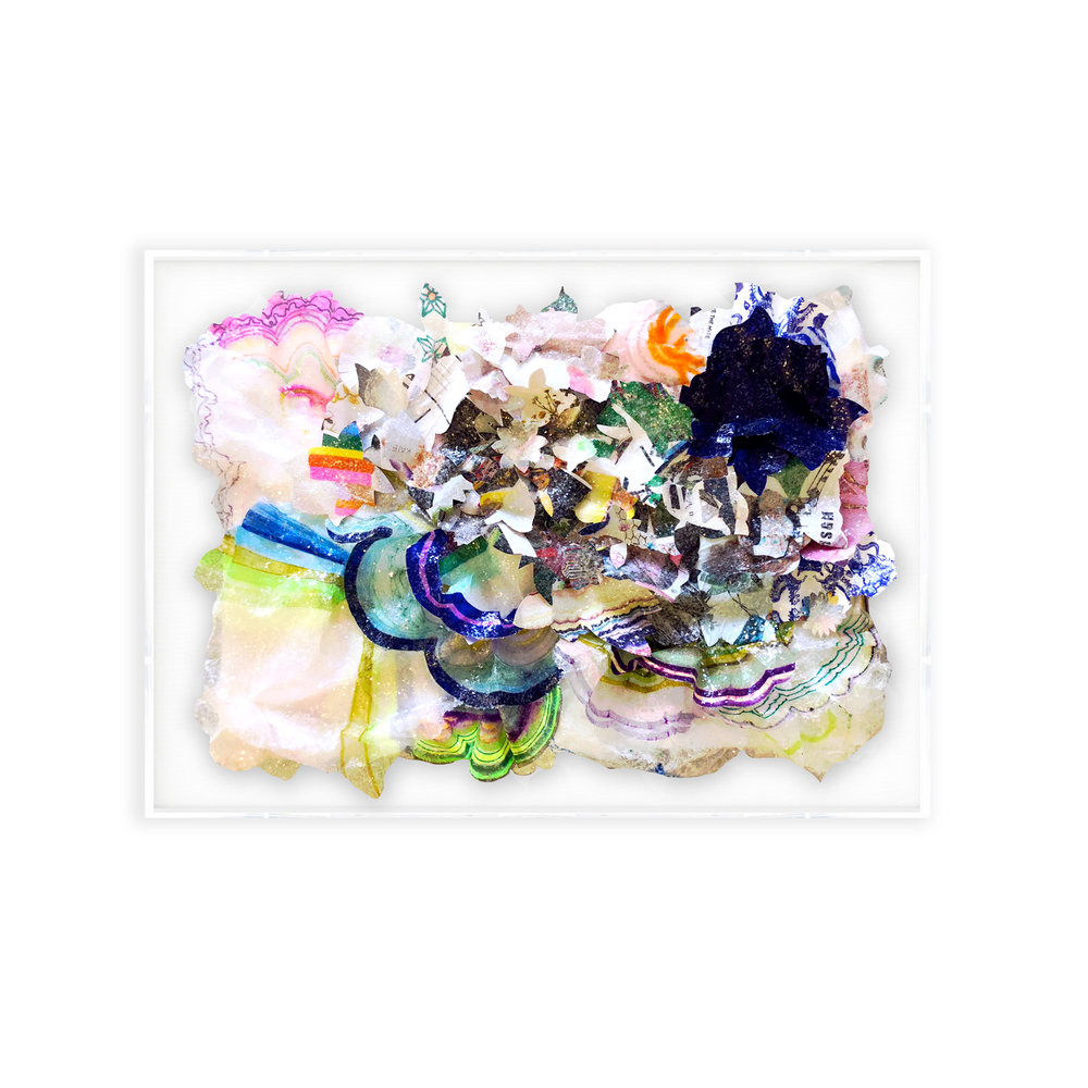 """BLOOM #1, Mixed media collage with glass crystals, 30""""x40""""x8"""""""