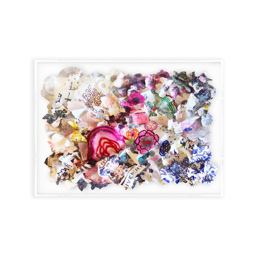 """BLOOM #2, Mixed media collage with glass crystals, 30""""x40""""x8"""""""