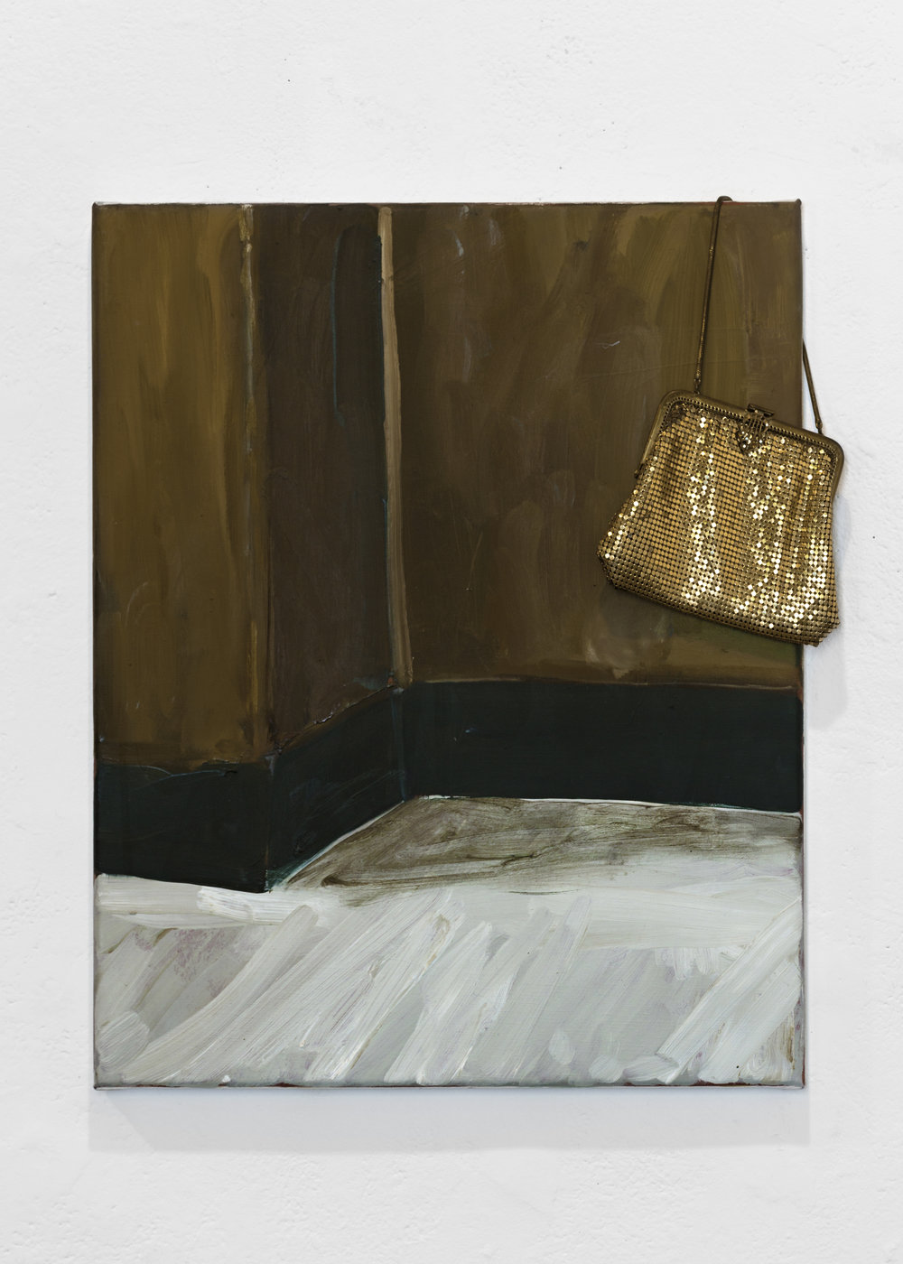 INTERIOR PLACEMENTS  Interior Placement 1 (Film Set)  Oil on linen, glow mesh. 51cm x 41cm, 2015.