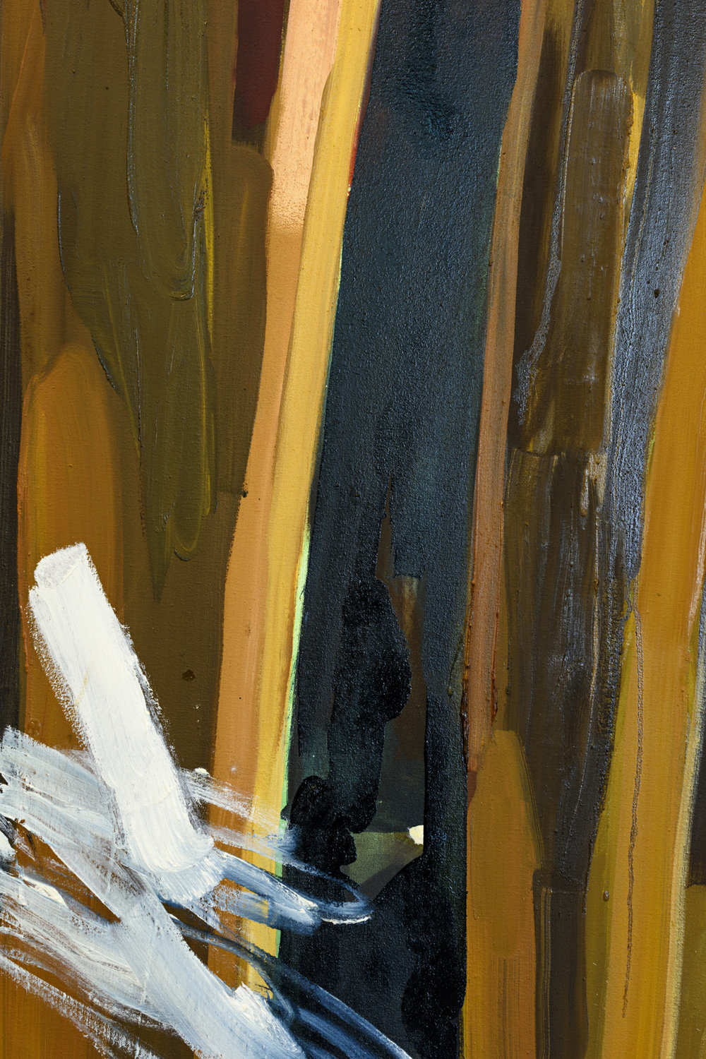 INTERIOR PLACEMENTS  Thinking About Yourself, Thinking About Others 1 (detail)  Oil on canvas, oil on linen, Cedar wood, 2016.