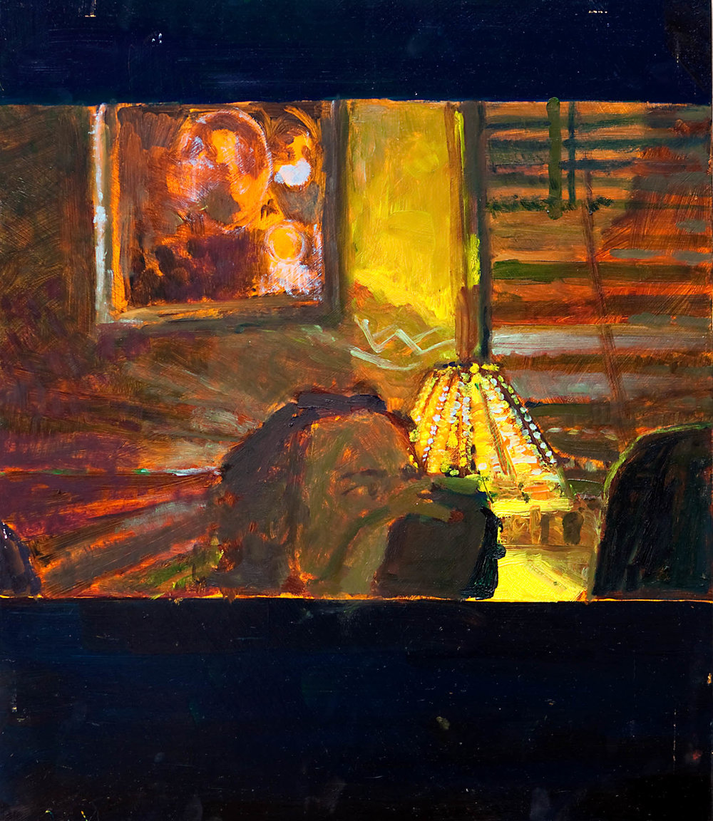 SHUTTER SPEED LUMINOSITY  Drinking  Oil on masonite  59.4cm x 42cm, 2010