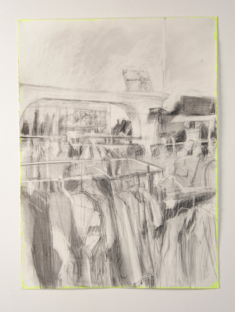 SHUTTER SPEED LUMINOSITY  Collected clothes  Charcoal and highlighter  59.4cm x 84.1cm, 2010