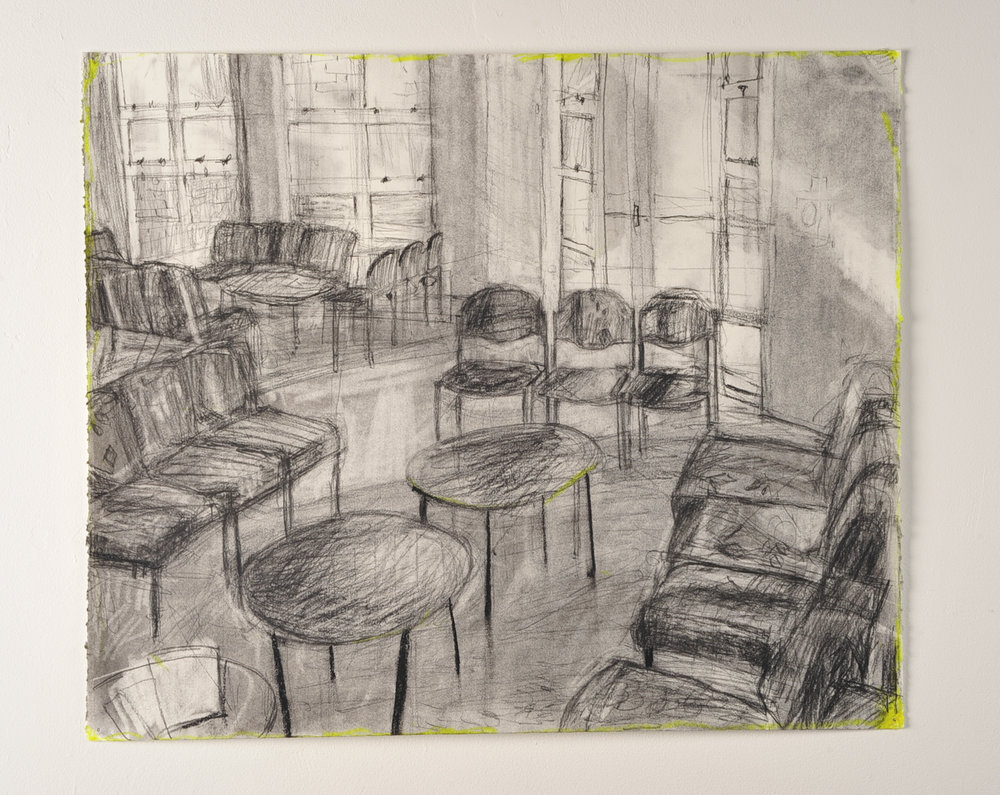 SHUTTER SPEED LUMINOSITY  Friends of chairs (foyer)  Charcoal and highlighter  55cm x 42cm, 2010