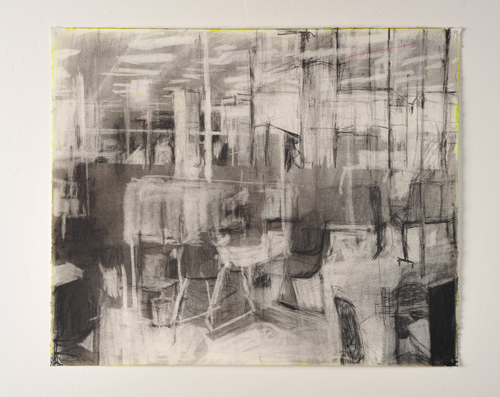 SHUTTER SPEED LUMINOSITY  Moreland Centrelink (foyer)  Charcoal and highlighter  55cm x 42cm, 2010