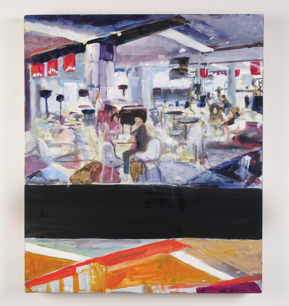 SHUTTER SPEED LUMINOSITY  Plaza food court  Oil on masonite  59.4cm x 42cm, 2010