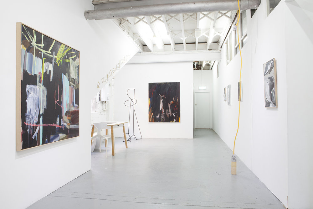 THE MAN WITH THREE NAMES, LON Gallery, December 2017. Curated by Meredith Stone  L-R Elyss McCleary, Tracey Lamb, E.M, Olga Bennett, Melanie Upton, Anthea Kemp.  Photography: Adam Stone 2017