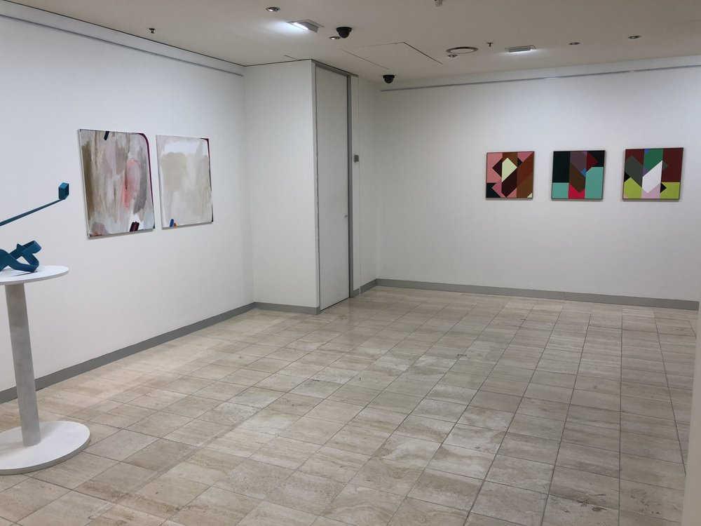 Collins Place Gallery L-R works by Basil Papoutsidis, Elyss McCleary, Max Lawrence White