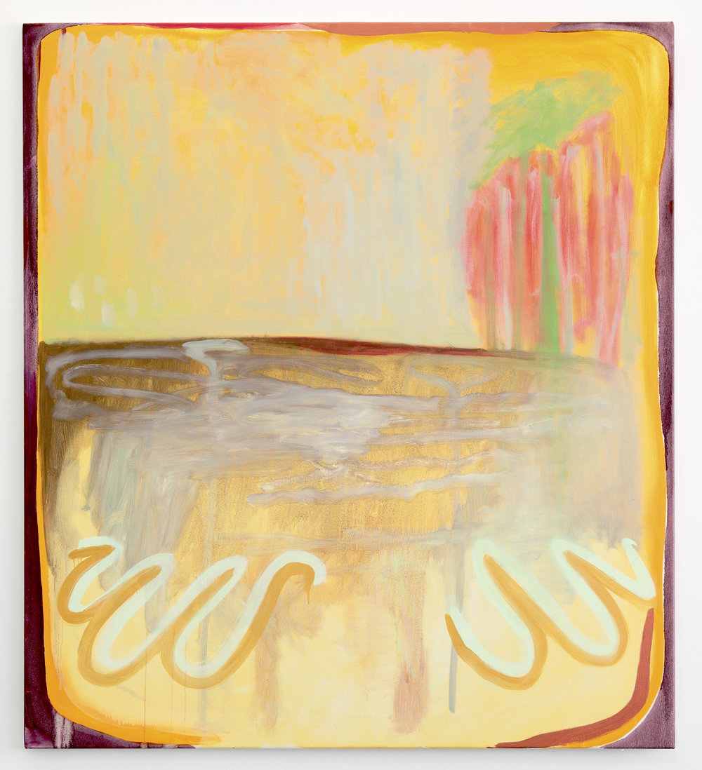 Golden sherbert waves pash, I want to be on a beach with you with a pine lime splice , 2018, Oil on linen , 140 x 125.5 cm