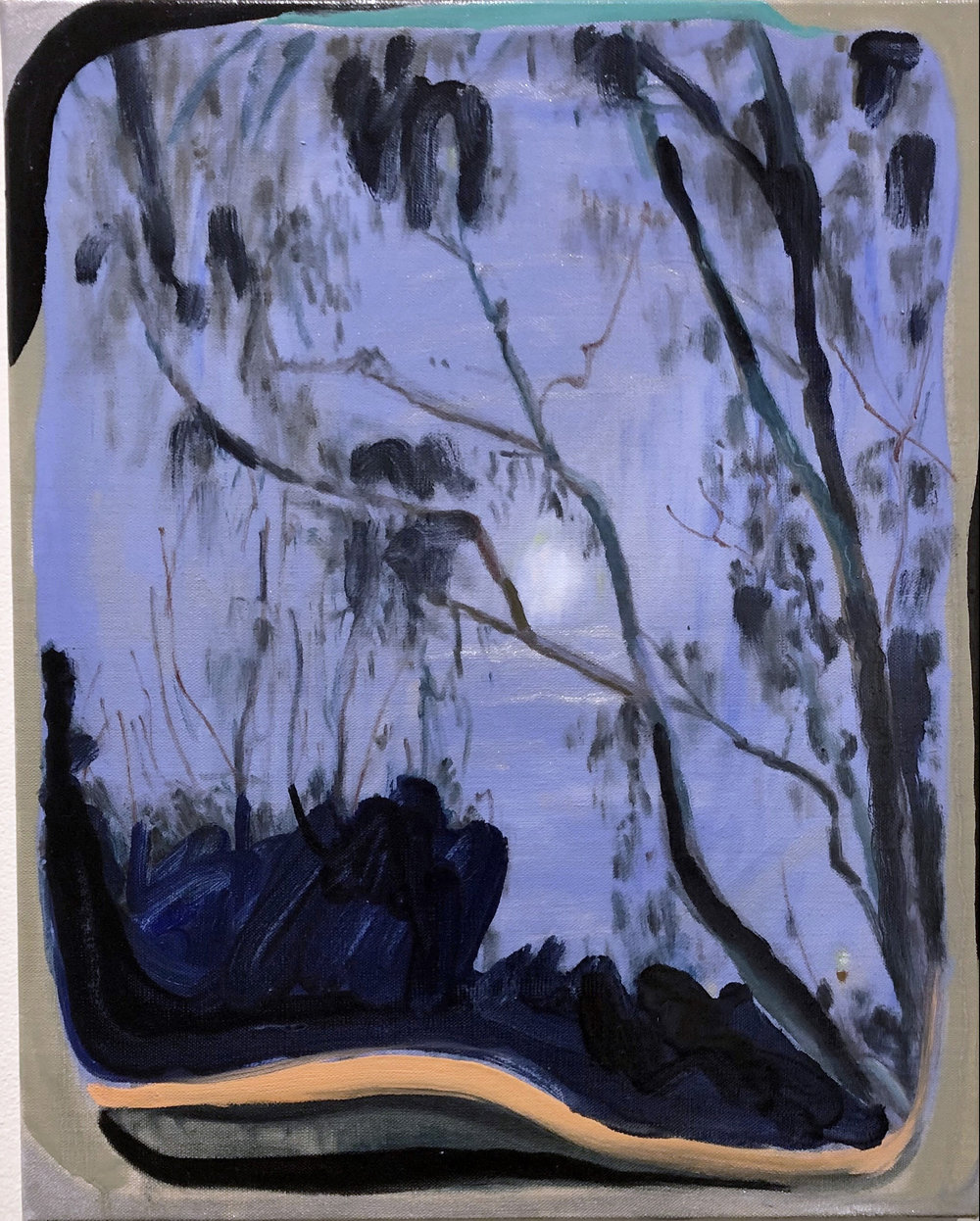 Elyss McCleary  Night trees frame the moon at Merri Creek skate park, dusk, a beautiful refreshing silver shower  2019 , Oil on linen, 51cm x 41cm  This is an ongoing series of works that are painting laments to the night trees. I take photos of the trees in the evening, dawn or at night, the paintings are quiet portraits of some of these.The sky and camera flash stage a surreal flat image of it in space.  I often think about the trees there holding space, people and things around, sounds, ciggies, maybe rubbish or piss on it, a road through, a bright light. The neon glow of amber city or suburban occupational and health light for made for us is blaring on the tree, i wish i could give it some sunglasses for this at night at least. They are so very beautiful and strong, talking and making sounds with each other.