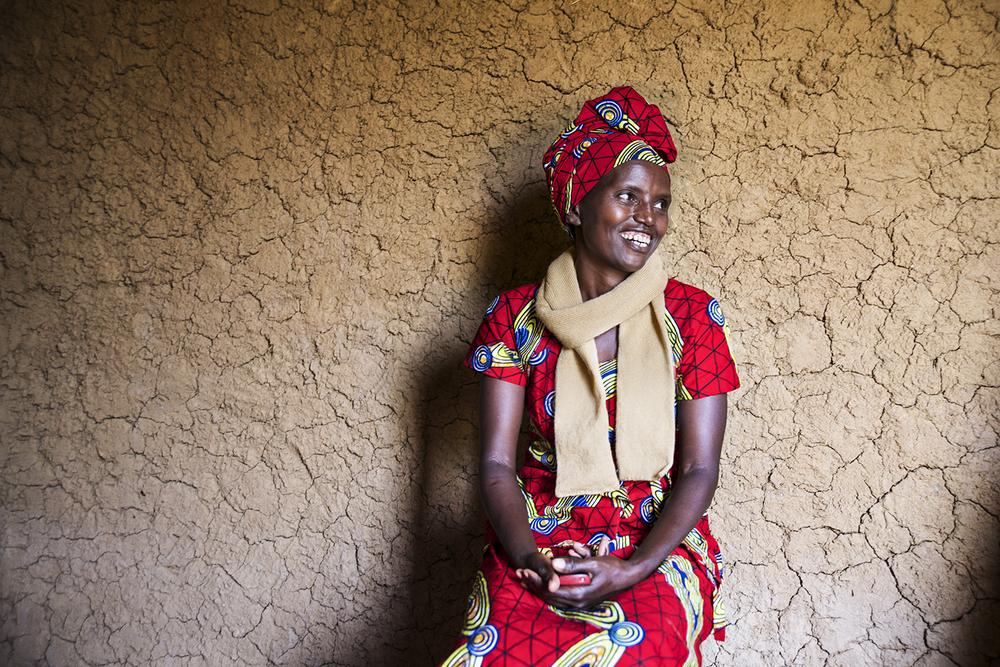 Chantal Kabayena, a knitter from Rwanda