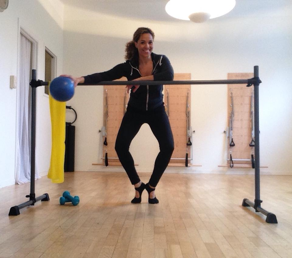 Barre classes utilize soft balls, hand weights and flexbands. photo property of pilates by janessa.