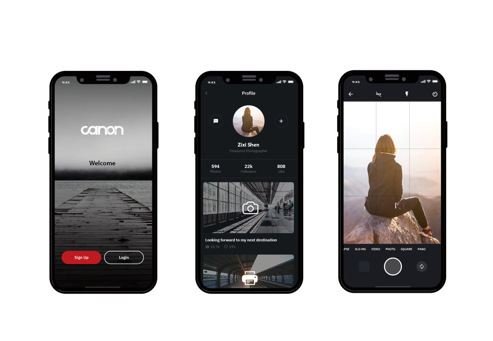 Here is an application I design for Canon, the idea is about to take a picture and you can share your moment online and also you can easily connect to the nearby Canon equipment and print it out immediately.