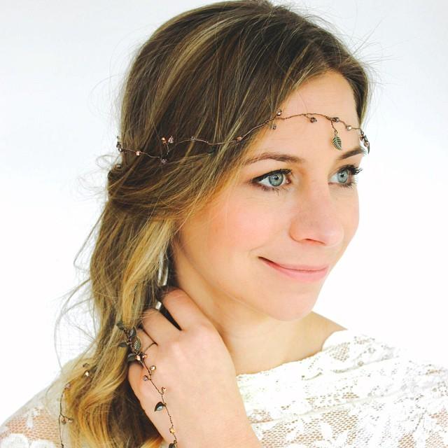 Copper Leaf Tail Trail & Ring Tail, by Prissy Marilla. #bespokejewellery #bridaljewellery #weddingjewellery #wedding #bridetobe