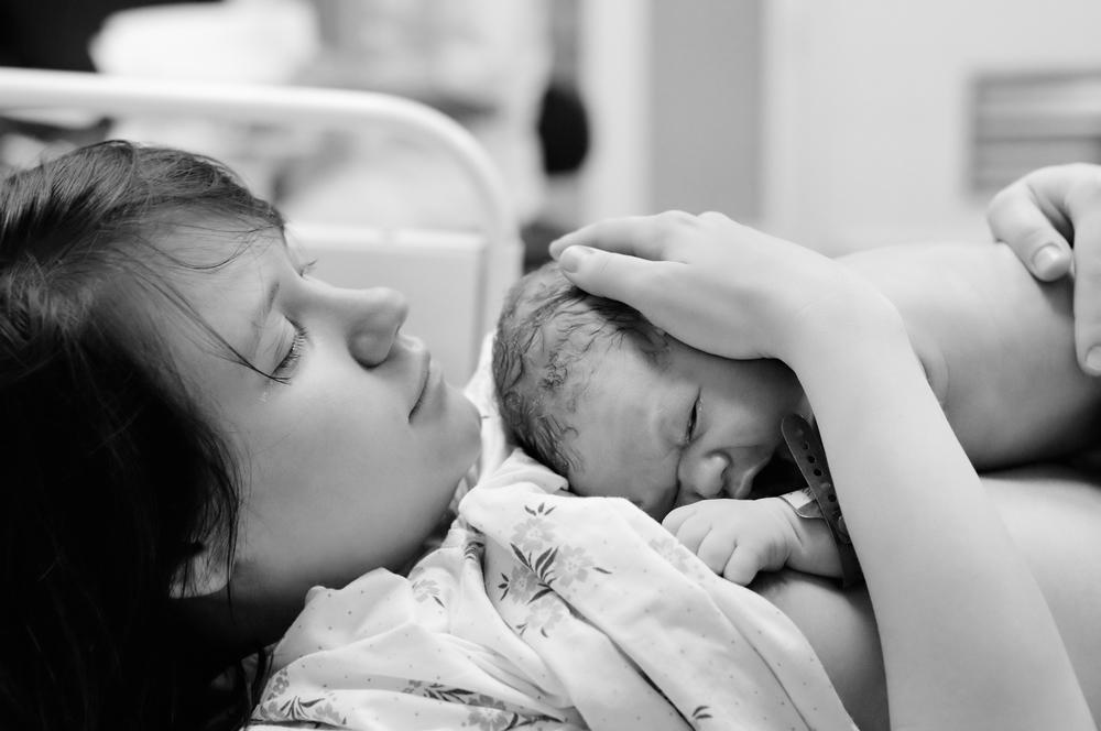 Holding baby skin-to-skin