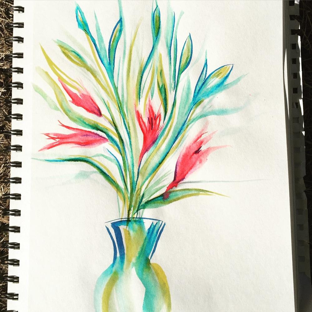 Playing around with brush pens & water.