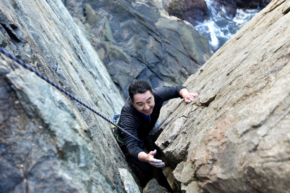 Northern Vertical guest discovers Acadia National Park's sea-side rock climbing to be the best he's ever experienced during summer months.  Photo by Michael G. Seamans