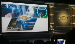 In a keynote address, General Motors CEO Mary Barra sets the GM agenda with connectivity at the top of the list.