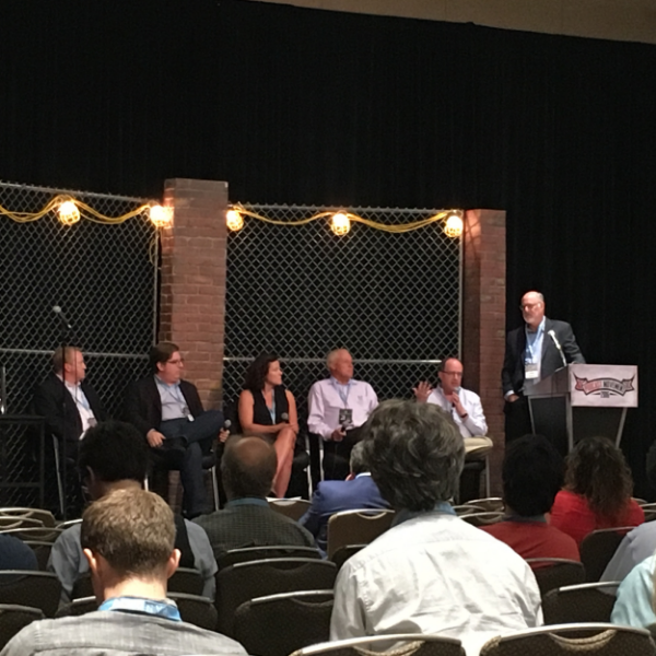 AM/FM/PODCAST PANEL - Radio's Pathway to Podcastin  g : L/R Greg Strassell, Hubbard; John Rosso, Triton Digital; Sarah Van Mosel, Acast; Traug Keller, ESPN; Larry Rosin, Edison Media; Steve Goldstein, Amplifi Media.
