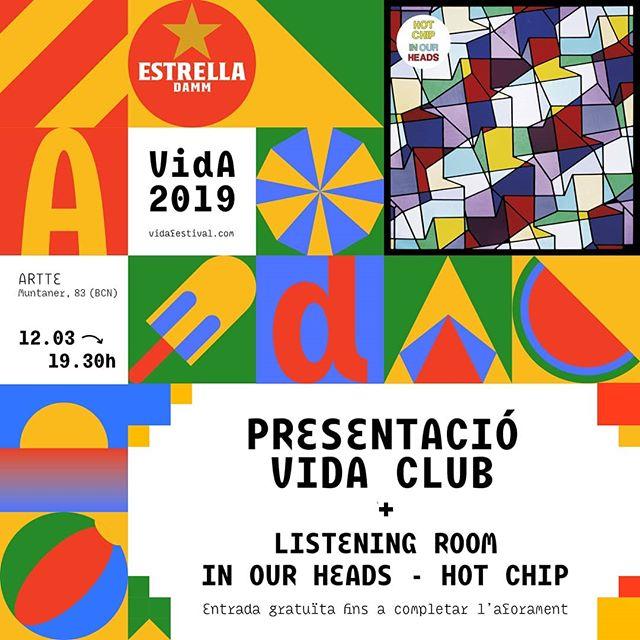 """Recordeu que demà dimarts 12 de març presentem la programació electrónica del #VidaFestival2019 sota el paraigües del VIDA Club! Us esperem tots a @arttebcn a les 19.30!  A més a més, també tindrà lloc la segona xerrada del cicle Listening Room by Vida amb l'escolta del disc """"In Our Heads"""" de Hot Chip. L'entrada serà gratuïta per a tothom fins a completar l'aforament."""