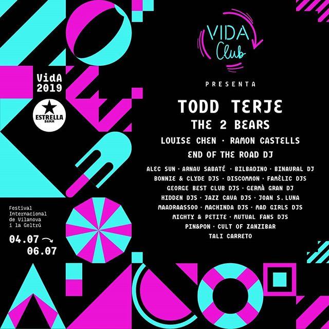 Com anovetat d'aquest any, tota la programació electrònica del VIDA 2019 es presenta sota el segell del VIDA CLUB. A més de la programació pròpia d'aquest espai, enguany el VIDA CLUB arriba a altres escenaris del festival amb la incorporació al cartell de Todd Terje, The 2 Bears, Louise Chen, Ramon Castells i End Of The Road Festival DJs. #VidaClub2019 #VidaFestival2019  L'espai VIDA CLUB dóna protagonisme a una programació formada per DJs amb residència a clubs i festivals tant nacionals com internacionals, així com per agitadors culturals de diferents àmbits. Amb aquesta iniciativa també volem agrair a tots els clubs la seva aportació a l'escena, ja que sense la seva feina difícilment existirien la majoria de grups que toquen al VIDA.  Tickets 🎟️ link bio