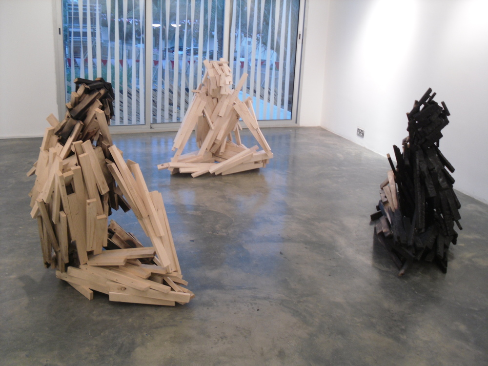 Exhibition view of Alan Goulbourne's solo show at Al Riwaq Art Space: The Furies, 2012.