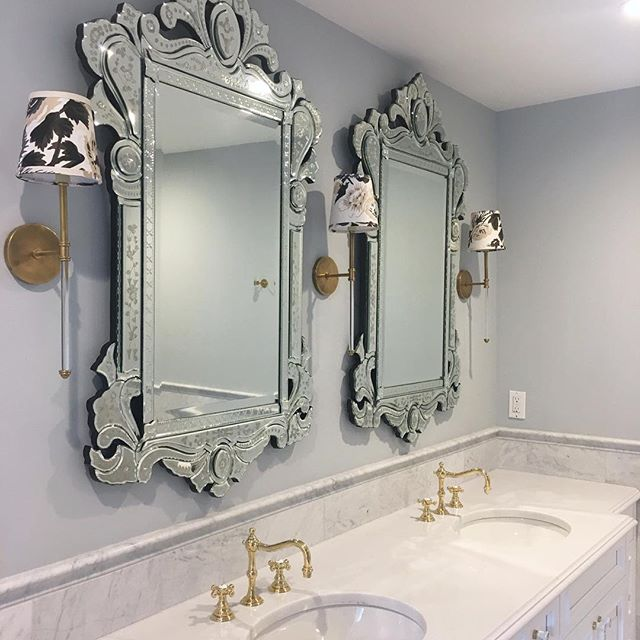 Venetian mirrors with custom @schumacher1889 fabric sconce shades from @cruelmountaindesigns! ✨ #kristinashleyinteriors #mirrormirror #mirrormonday #venetianmirror #venetianmirrors #bernardsvillenj #bernardsvilledesigner #camillesconce #pynehollyhock #labarge @visualcomfortco