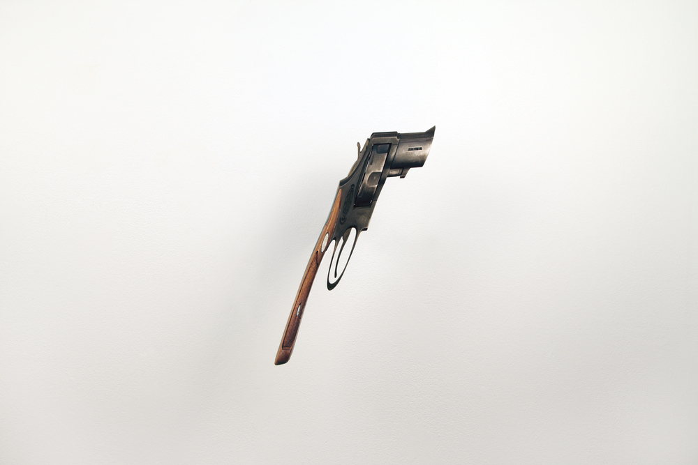 gun  (v), 2008 steel, walnut 10 1/2 x 6 1/2 x 3 inches