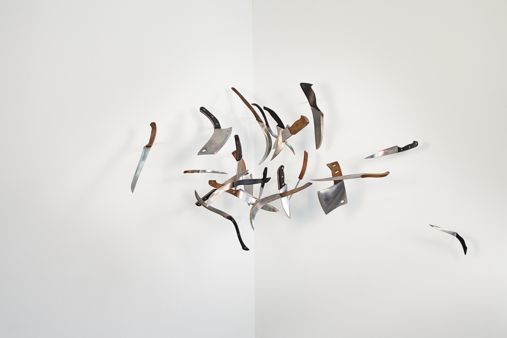 knives , 2008 steel, wood, plastic 36 x 60 x 24 inches