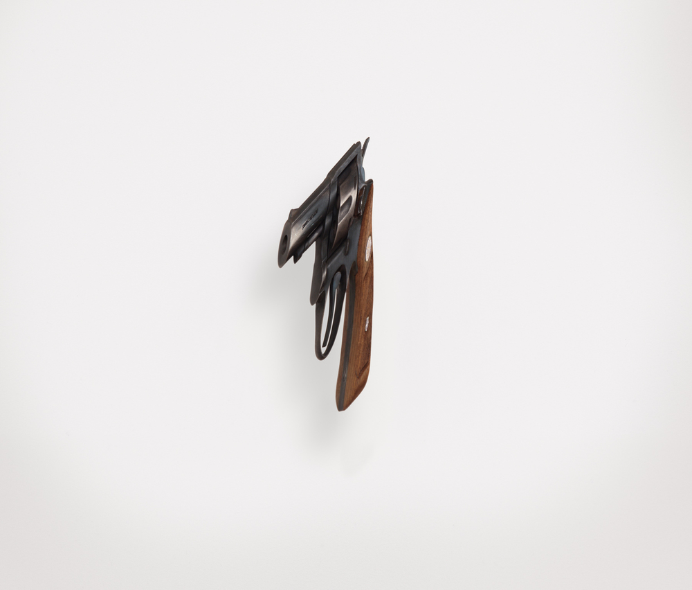 gun  (ii), 2008 steel, walnut 9 1/2 x 3 1/2 x 3 inches