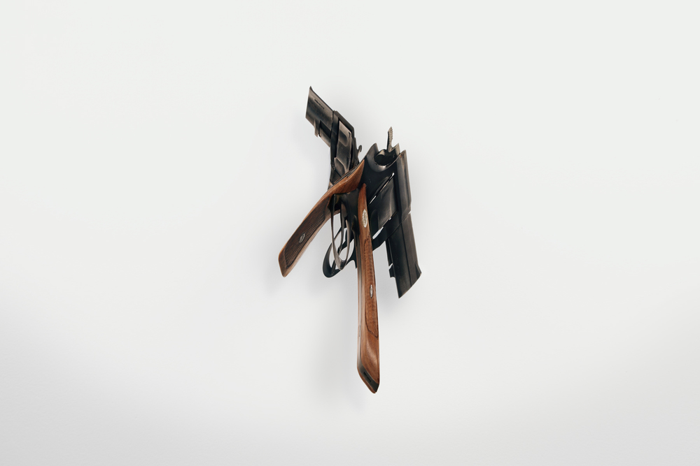 gun  (iii), 2008 steel, walnut 9 x 8 x 10 1/2 inches