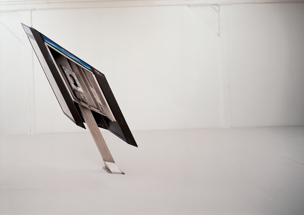 payphone , 2000 anodized aluminum, stainless steel, Plexiglas, silk-screened graphics 108 x 84 x 56 inches