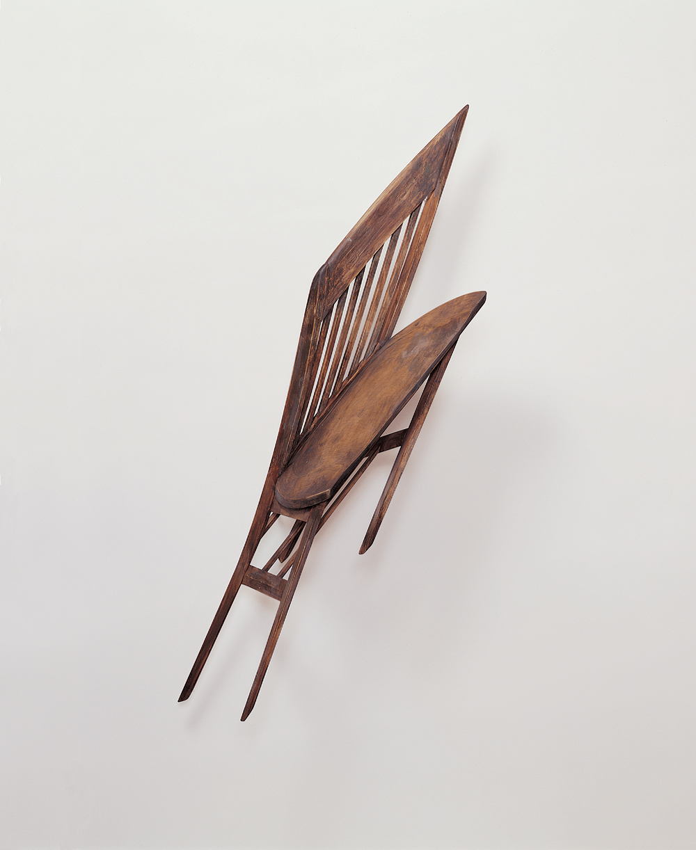 chair , 2000 maple, pigment 54 x 26 x 12 inches