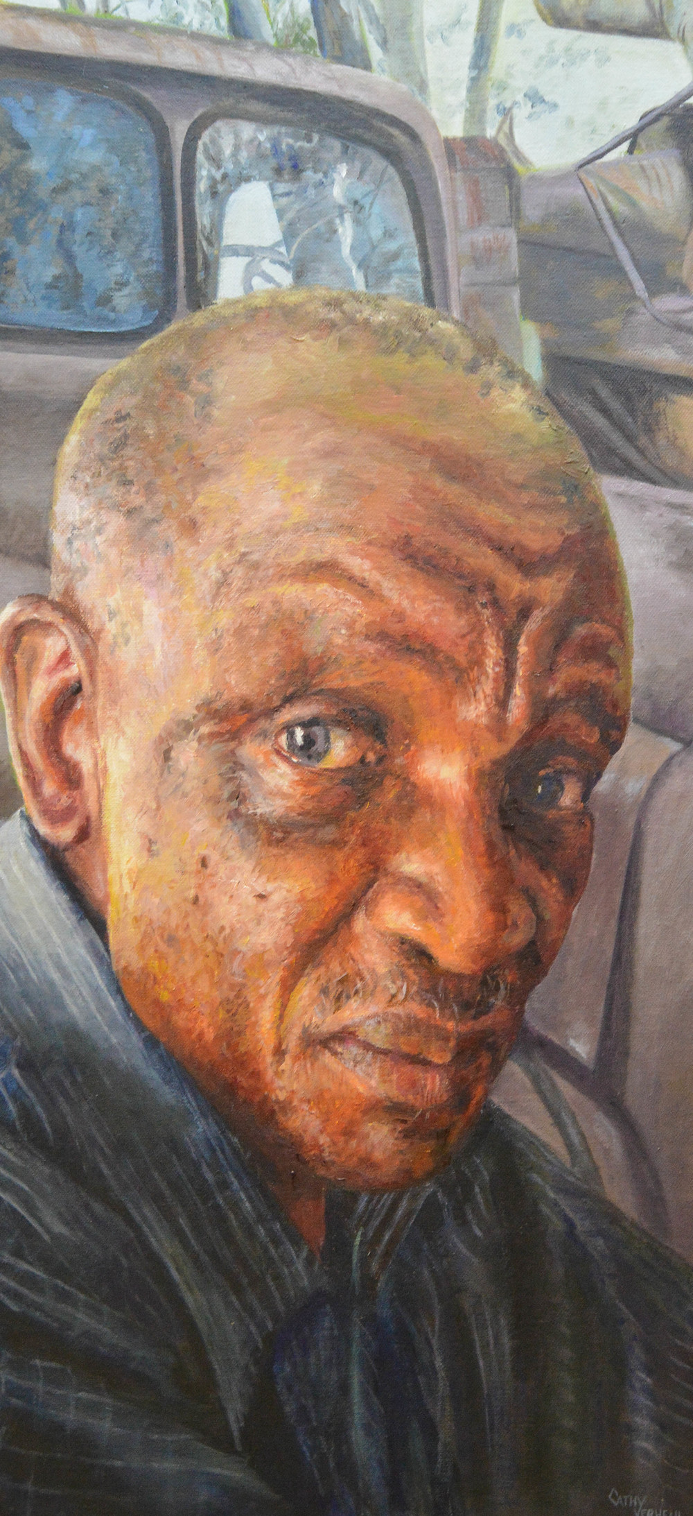 The winning painting from the Rotary Portrait Award by Cathy Verheul