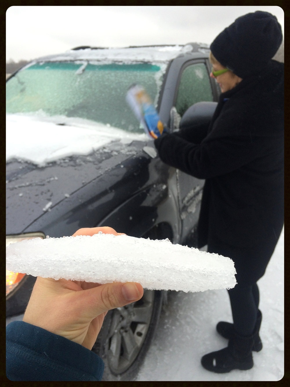 Ice was about an inch thick on my mom's car!