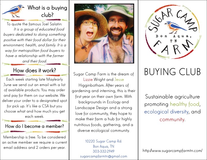 Page one of our buying club pamphlet.