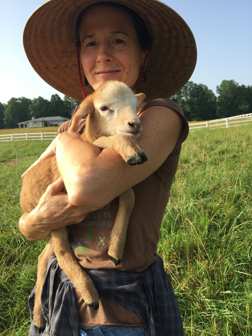 Hilary and a lamb