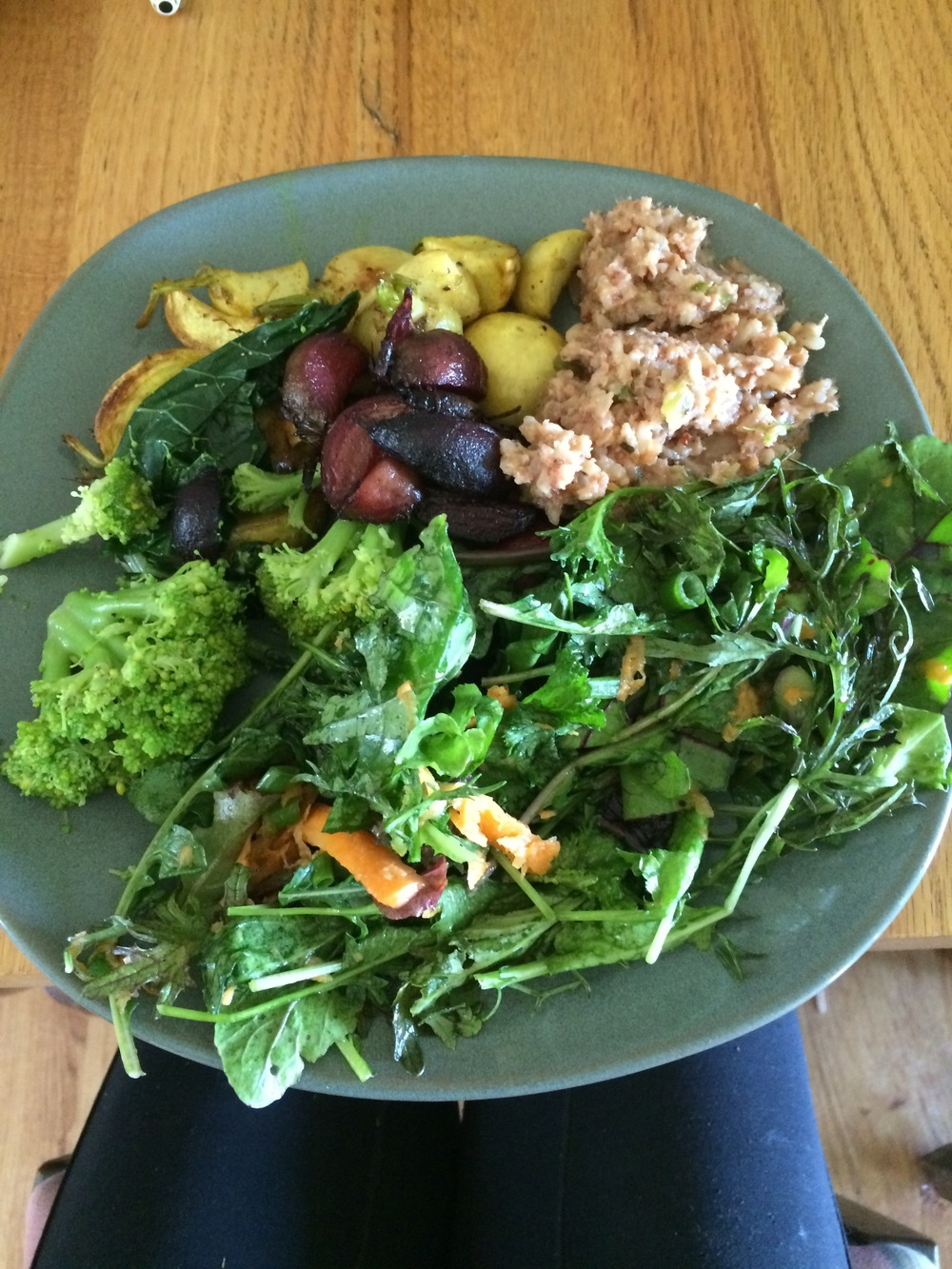 Devan always makes great lunches and there are like 5 different things on the plate! Today it was mixed greens salad with kale, arugula, mustards, carrots, green onions, purslane, and a lemon vinaigrette, steamed broccoli, turmeric and orange zest roasted turnips, cinnamon roasted beets, a smoked sausage dish from Husk, millet, and lentils!