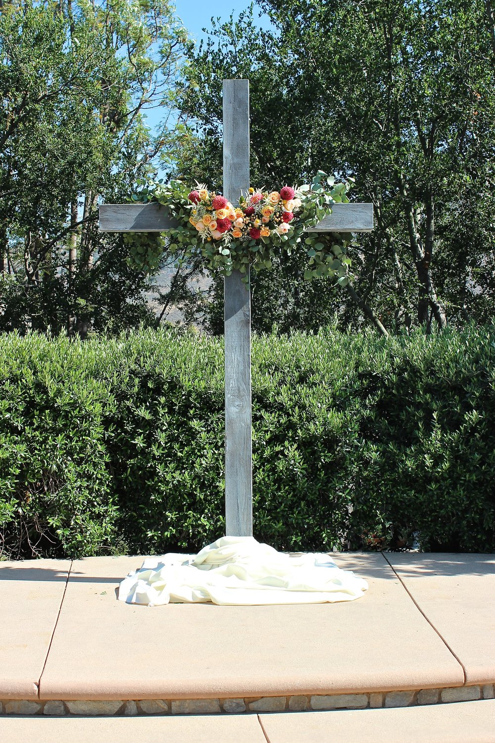 WHITE WASHED WOODEN CROSS - $100.00