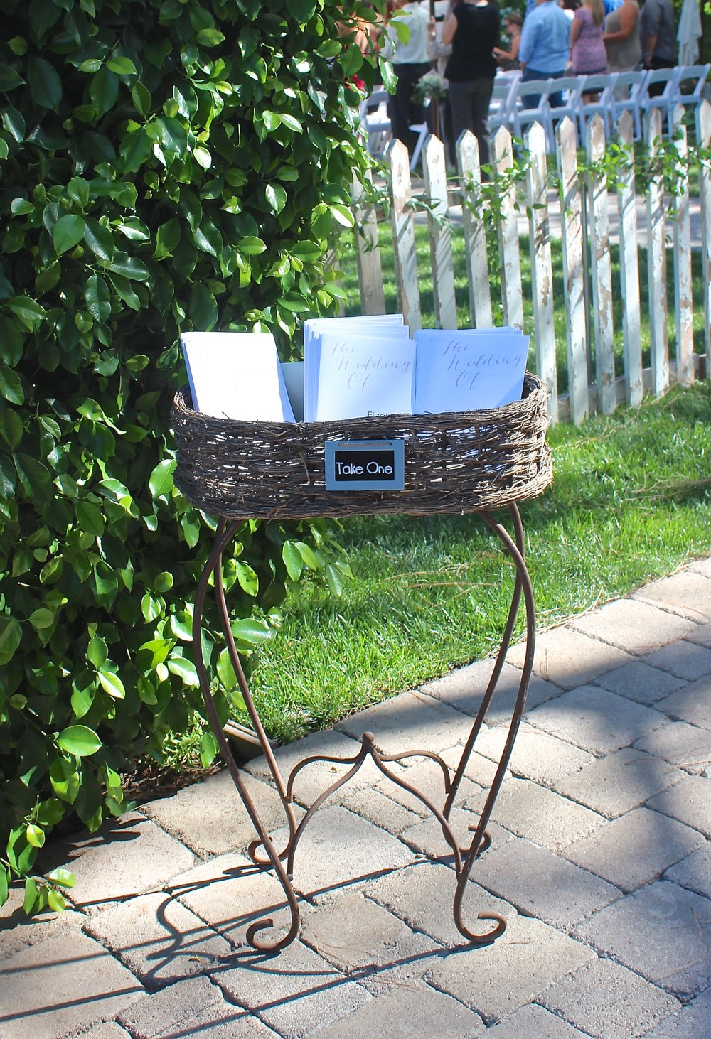 """TAKE ONE"" BASKET ON IRON STAND $20"