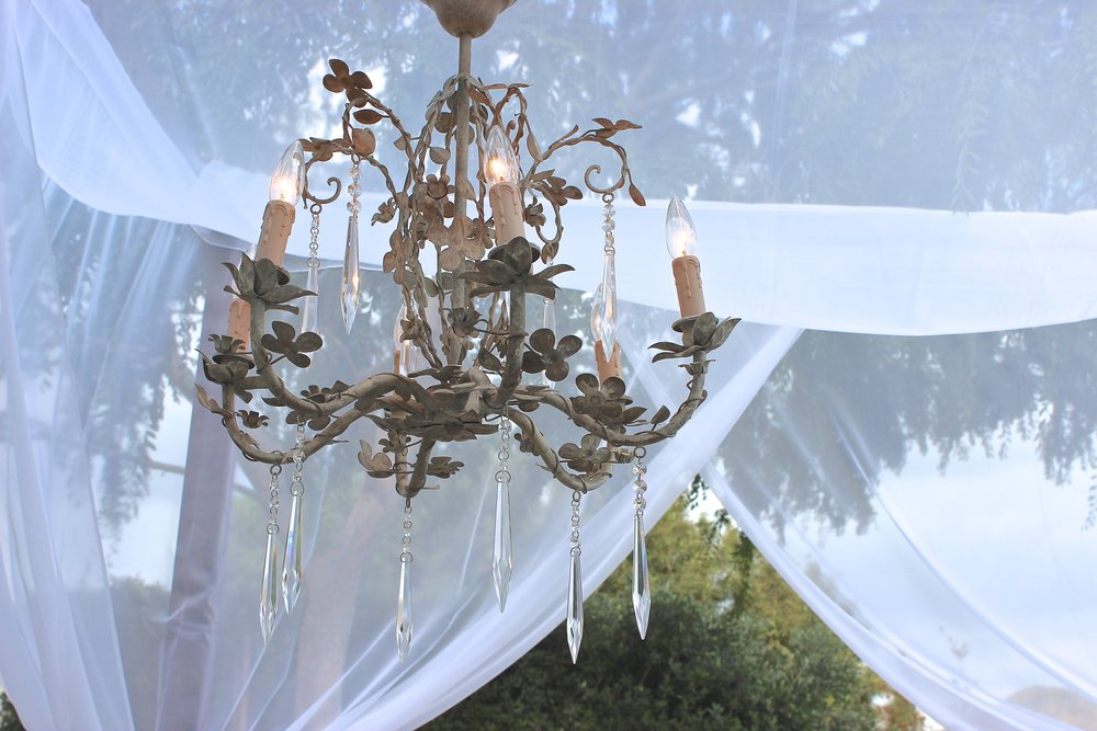 BEIGE IRON/CRYSTAL CHANDELIER - $60