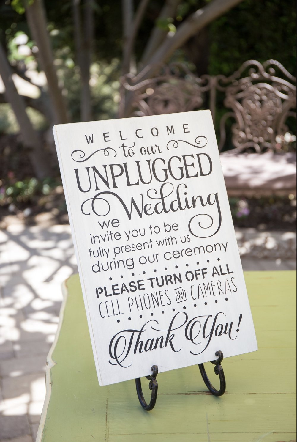 UNPLUGGED WEDDING SIGN WITH STAND - $15