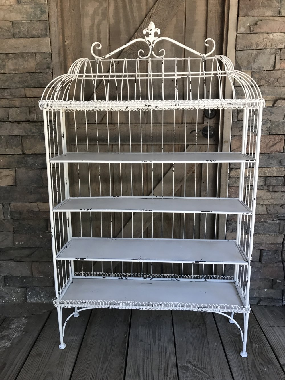 WHITE WIRE DISPLAY SHELF - $100